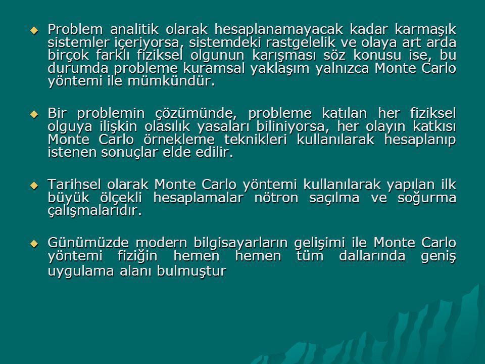 Problem analitik olarak hesaplanamayacak kadar karmaşık sistemler içeriyorsa, sistemdeki rastgelelik ve olaya art arda birçok farklı fiziksel olgunun karışması söz konusu ise, bu durumda probleme kuramsal yaklaşım yalnızca Monte Carlo yöntemi ile mümkündür.