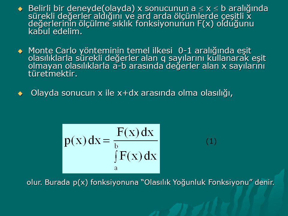 Olayda sonucun x ile x+dx arasında olma olasılığı,