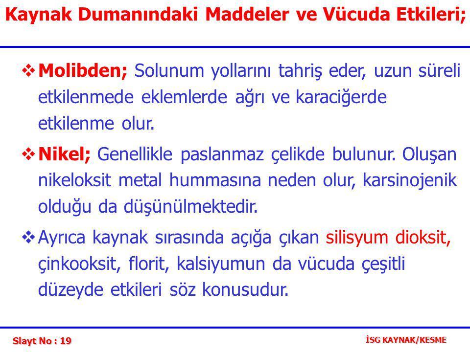 Kaynak Dumanındaki Maddeler ve Vücuda Etkileri;