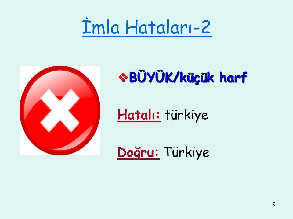 İmla Hataları-2 BÜYÜK/küçük harf Hatalı: türkiye Doğru: Türkiye