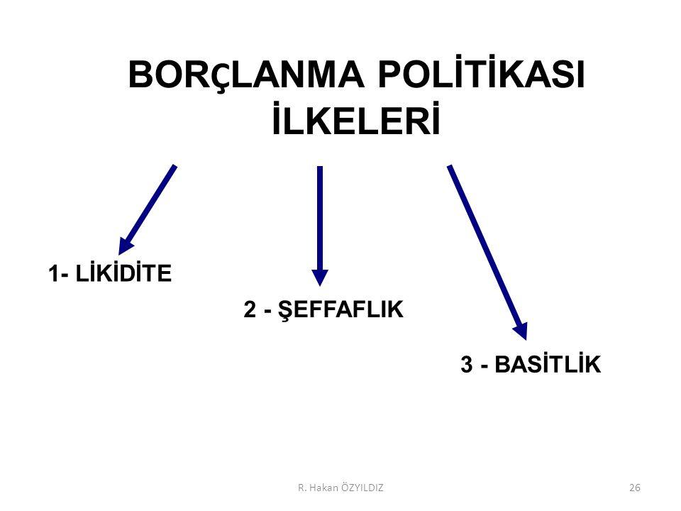 BORÇLANMA POLİTİKASI İLKELERİ