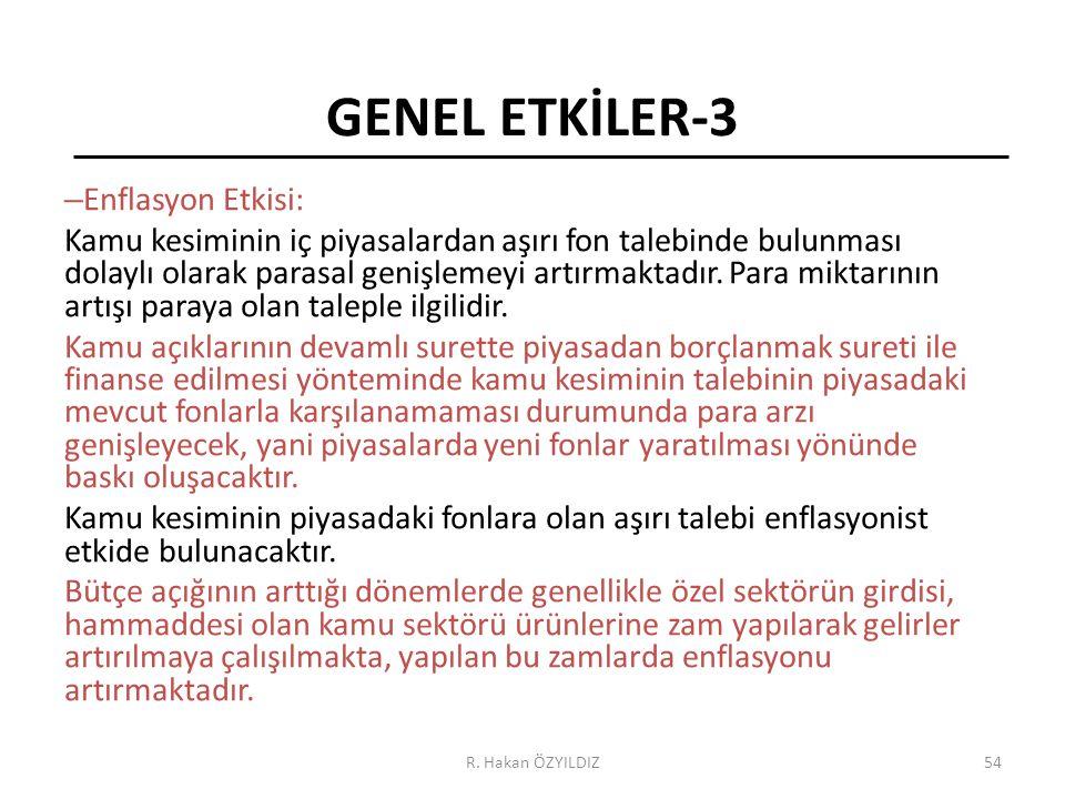 GENEL ETKİLER-3 Enflasyon Etkisi: