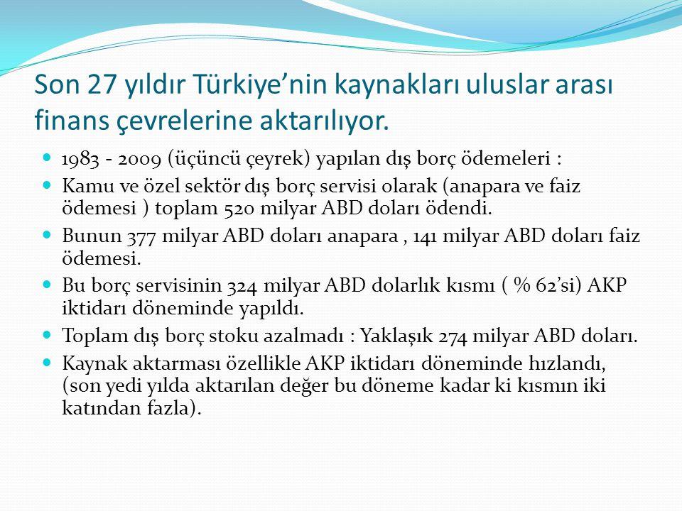 Son 27 yıldır Türkiye'nin kaynakları uluslar arası finans çevrelerine aktarılıyor.