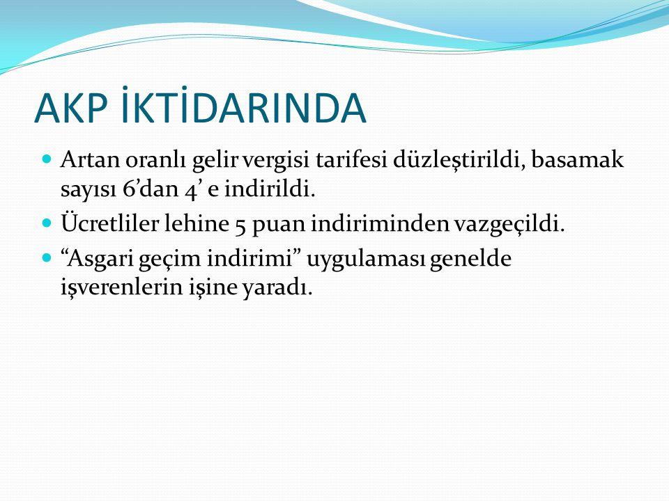 AKP İKTİDARINDA Artan oranlı gelir vergisi tarifesi düzleştirildi, basamak sayısı 6'dan 4' e indirildi.