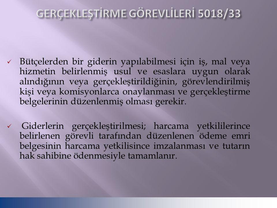 GERÇEKLEŞTİRME GÖREVLİLERİ 5018/33