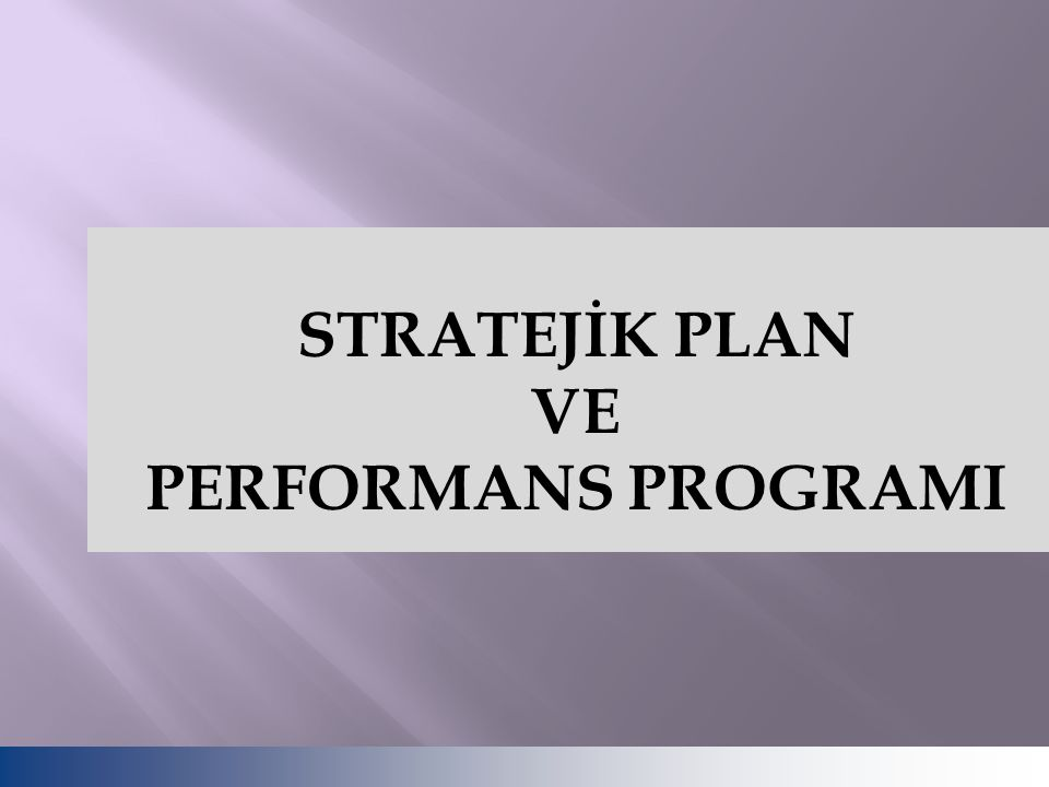 STRATEJİK PLAN VE PERFORMANS PROGRAMI