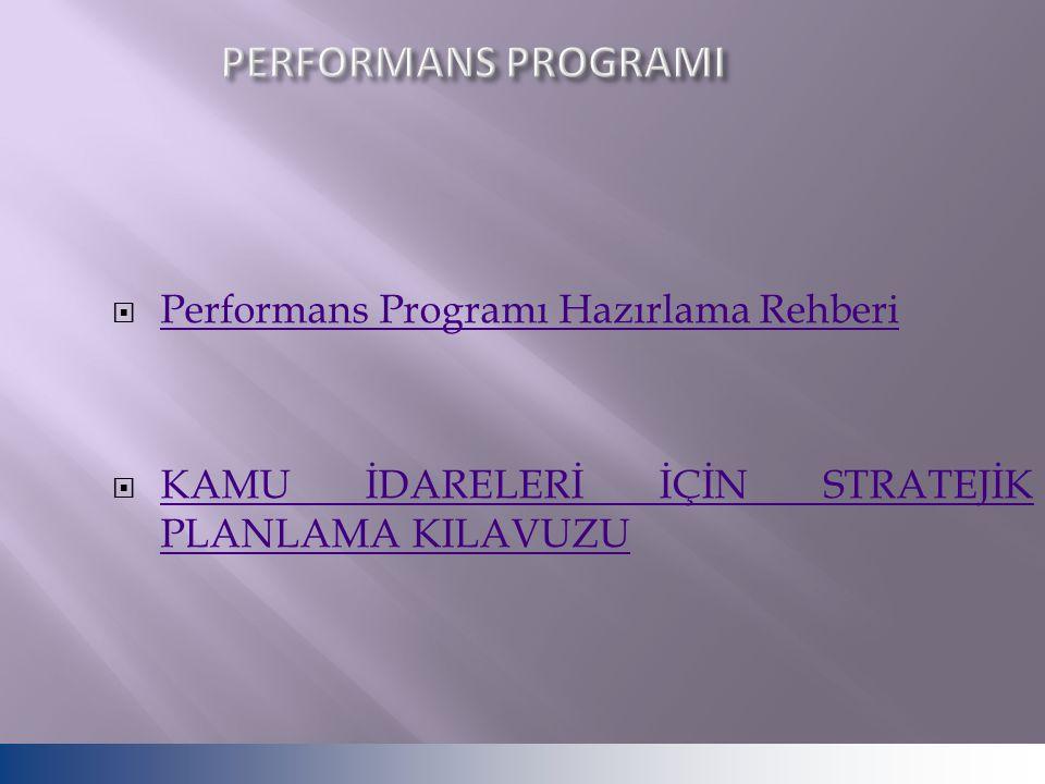 PERFORMANS PROGRAMI Performans Programı Hazırlama Rehberi