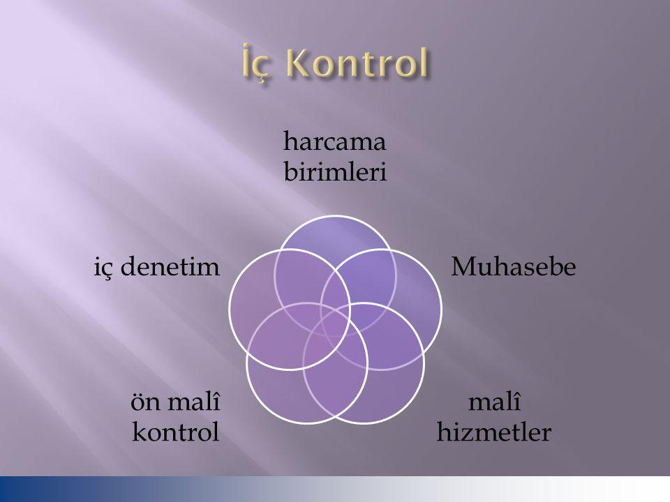 İç Kontrol harcama birimleri Muhasebe malî hizmetler ön malî kontrol