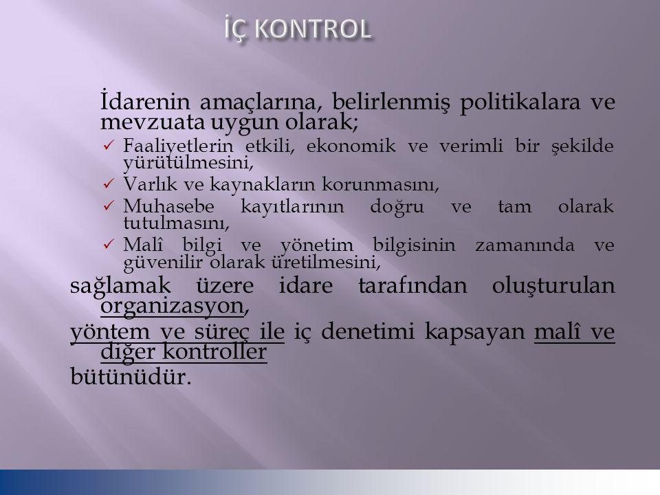 İÇ KONTROL İdarenin amaçlarına, belirlenmiş politikalara ve mevzuata uygun olarak;