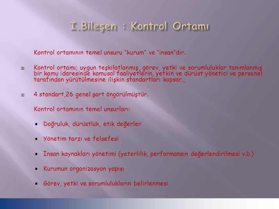 I.Bileşen : Kontrol Ortamı