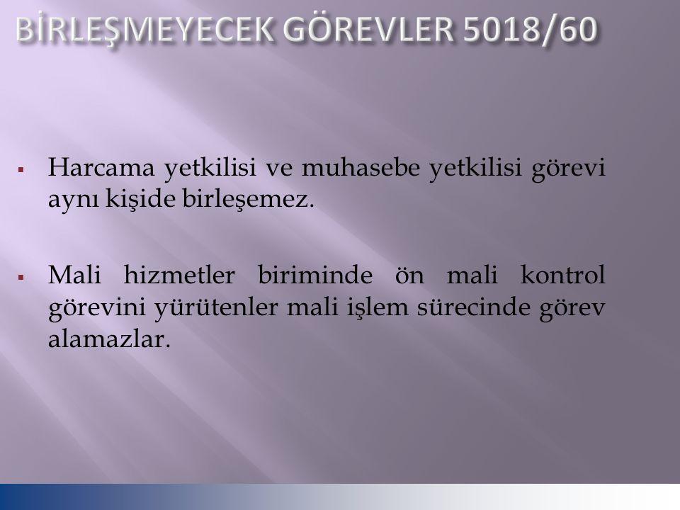 BİRLEŞMEYECEK GÖREVLER 5018/60