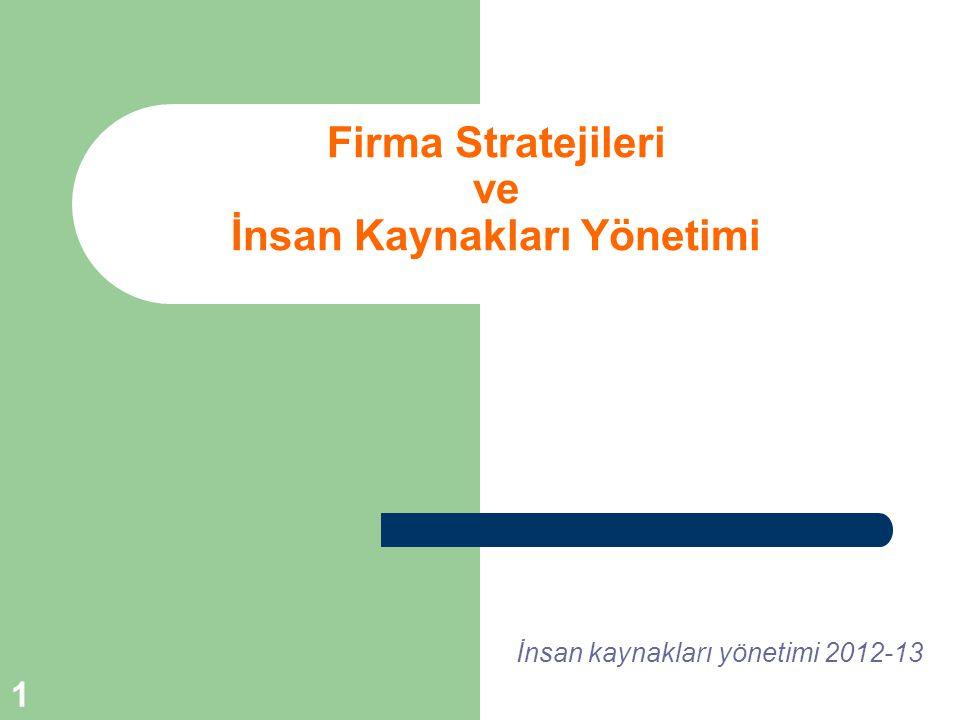 Firma Stratejileri ve İnsan Kaynakları Yönetimi