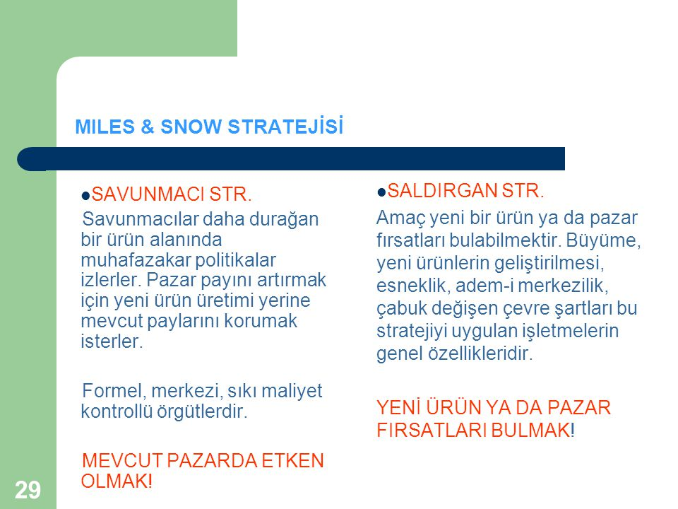 MILES & SNOW STRATEJİSİ