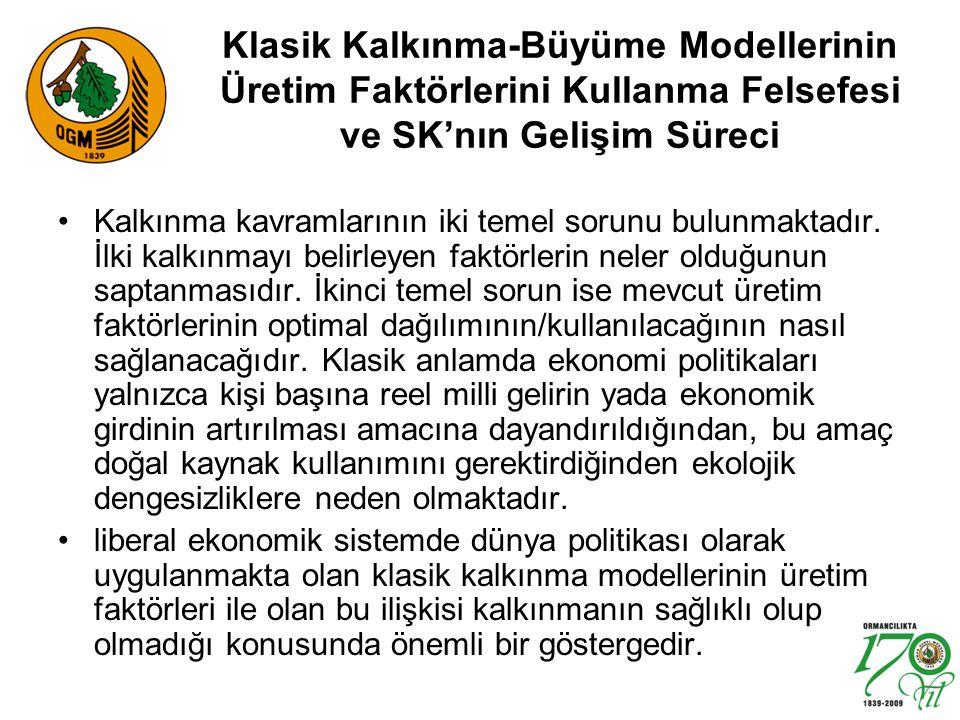 Klasik Kalkınma-Büyüme Modellerinin Üretim Faktörlerini Kullanma Felsefesi ve SK'nın Gelişim Süreci
