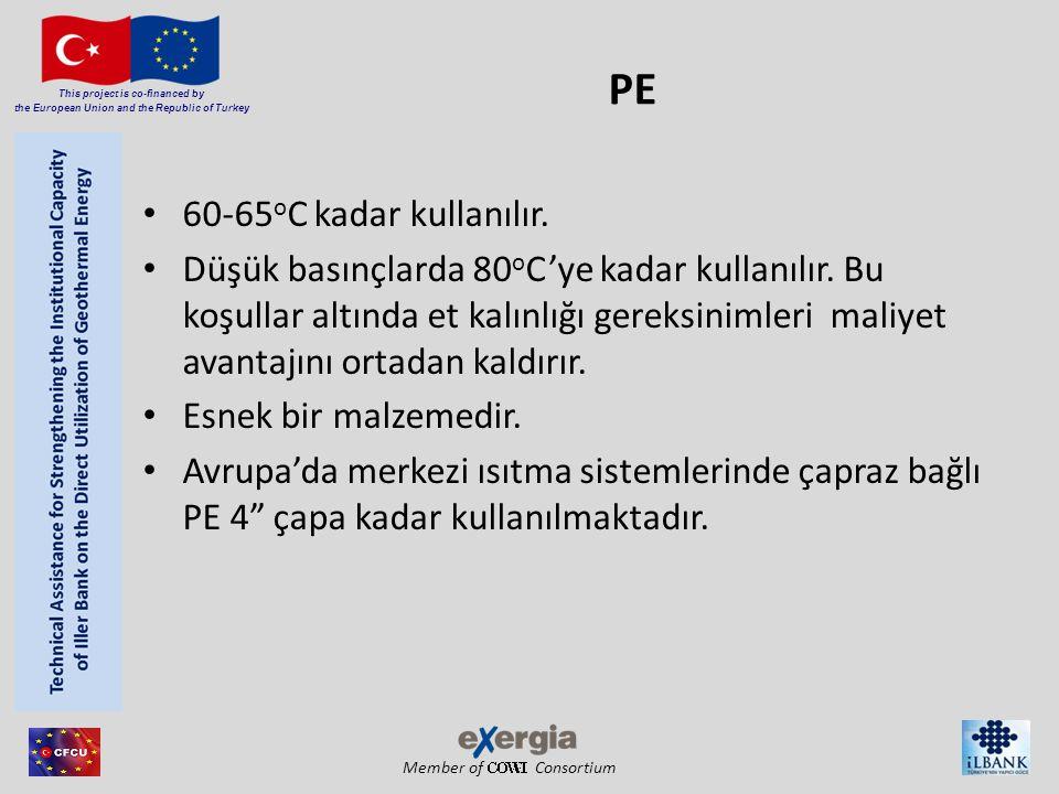PE 60-65oC kadar kullanılır.