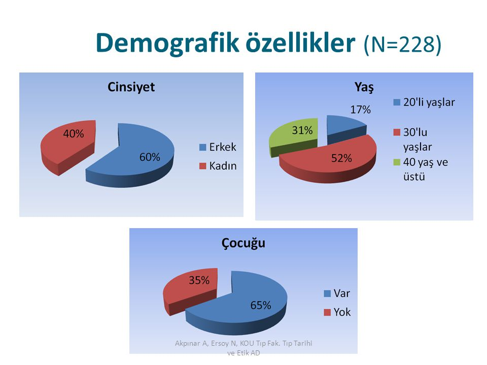 Demografik özellikler (N=228)