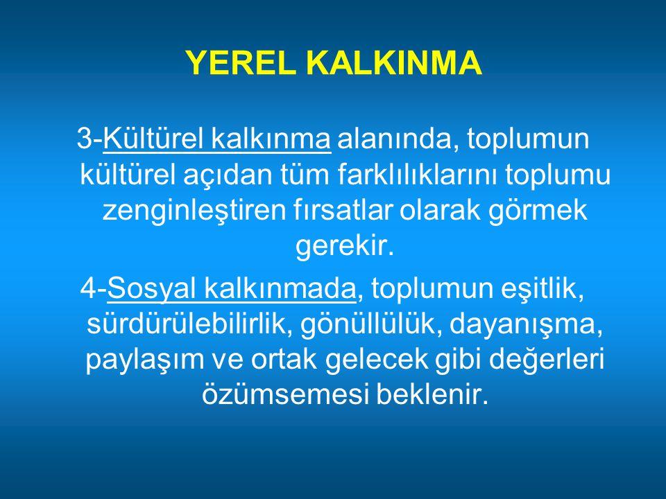 YEREL KALKINMA 3-Kültürel kalkınma alanında, toplumun kültürel açıdan tüm farklılıklarını toplumu zenginleştiren fırsatlar olarak görmek gerekir.