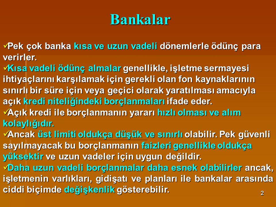 Bankalar Pek çok banka kısa ve uzun vadeli dönemlerle ödünç para verirler.
