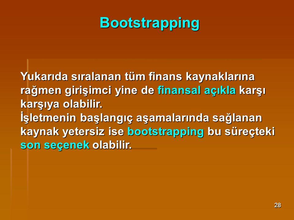 Bootstrapping Yukarıda sıralanan tüm finans kaynaklarına rağmen girişimci yine de finansal açıkla karşı karşıya olabilir.