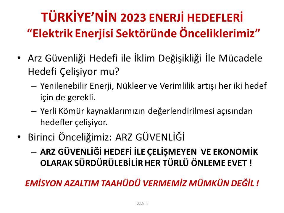 TÜRKİYE'NİN 2023 ENERJİ HEDEFLERİ Elektrik Enerjisi Sektöründe Önceliklerimiz