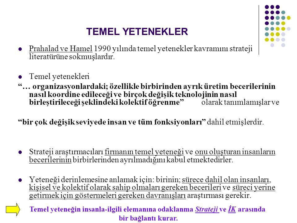 TEMEL YETENEKLER Prahalad ve Hamel 1990 yılında temel yetenekler kavramını strateji literatürüne sokmuşlardır.