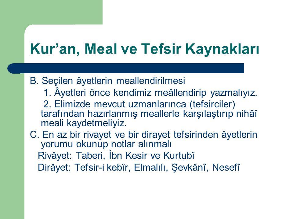 Kur'an, Meal ve Tefsir Kaynakları