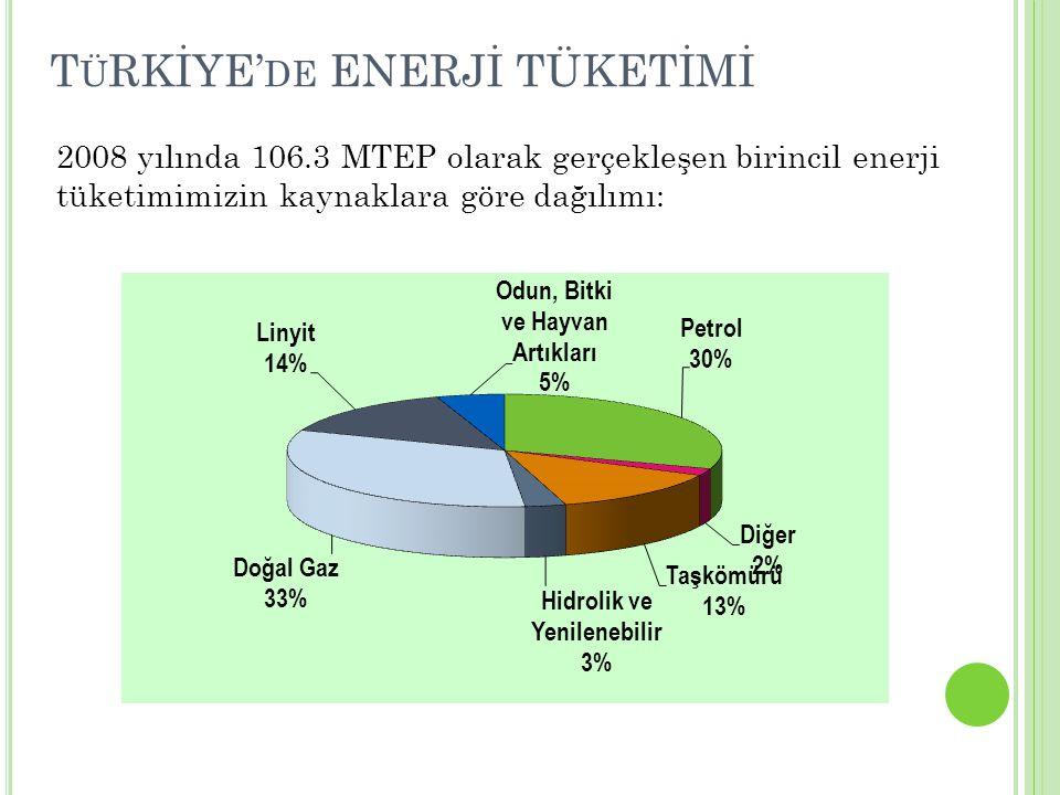 TüRKİYE'de ENERJİ TÜKETİMİ