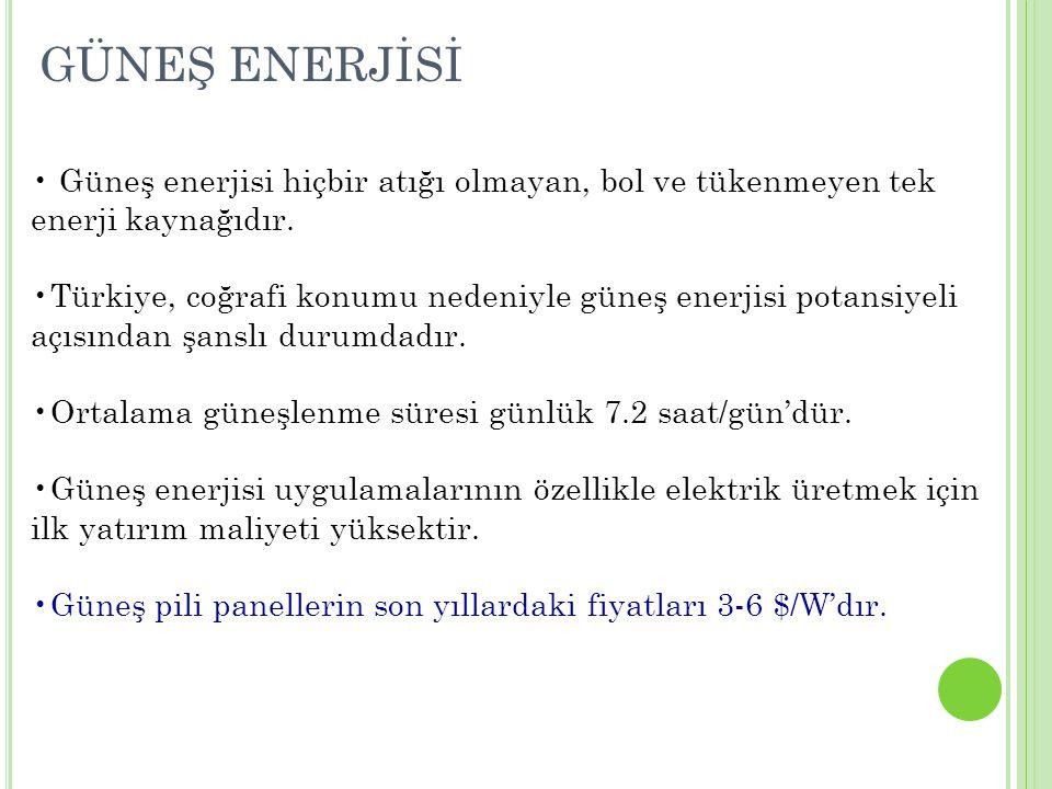 GÜNEŞ ENERJİSİ Güneş enerjisi hiçbir atığı olmayan, bol ve tükenmeyen tek enerji kaynağıdır.