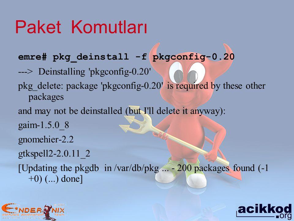 Paket Komutları emre# pkg_deinstall -f pkgconfig-0.20