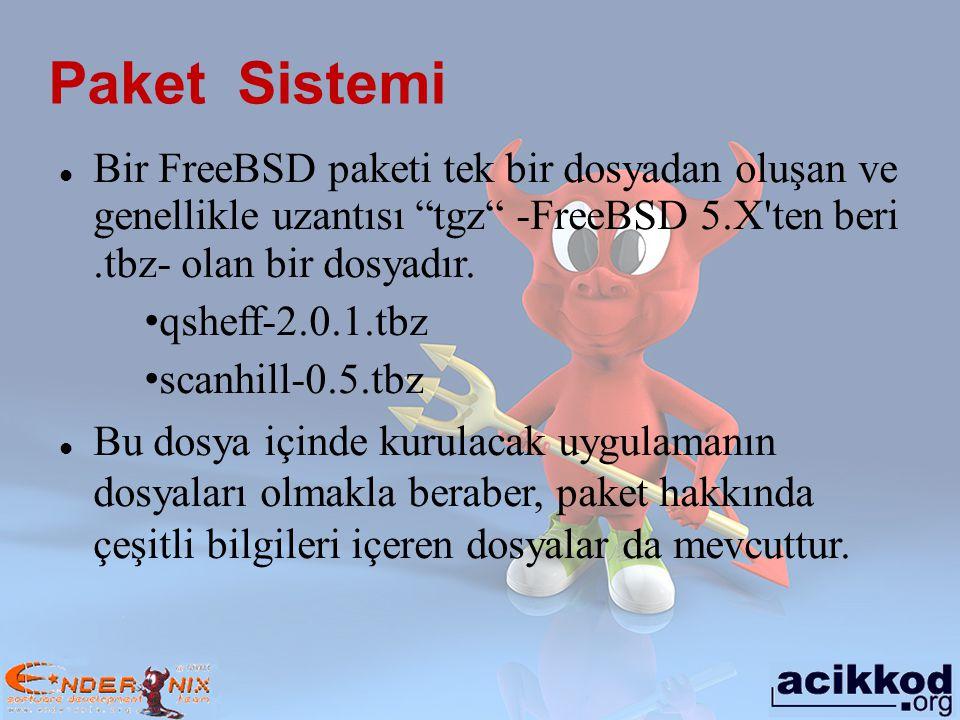 Paket Sistemi Bir FreeBSD paketi tek bir dosyadan oluşan ve genellikle uzantısı tgz -FreeBSD 5.X ten beri .tbz- olan bir dosyadır.