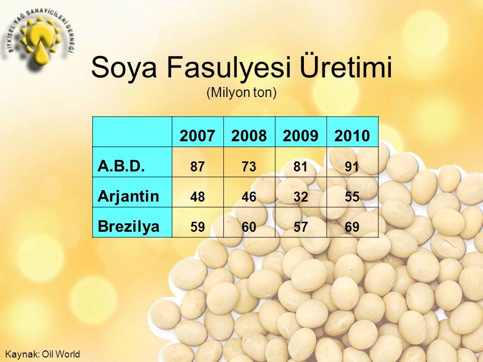 Soya Fasulyesi Üretimi (Milyon ton)