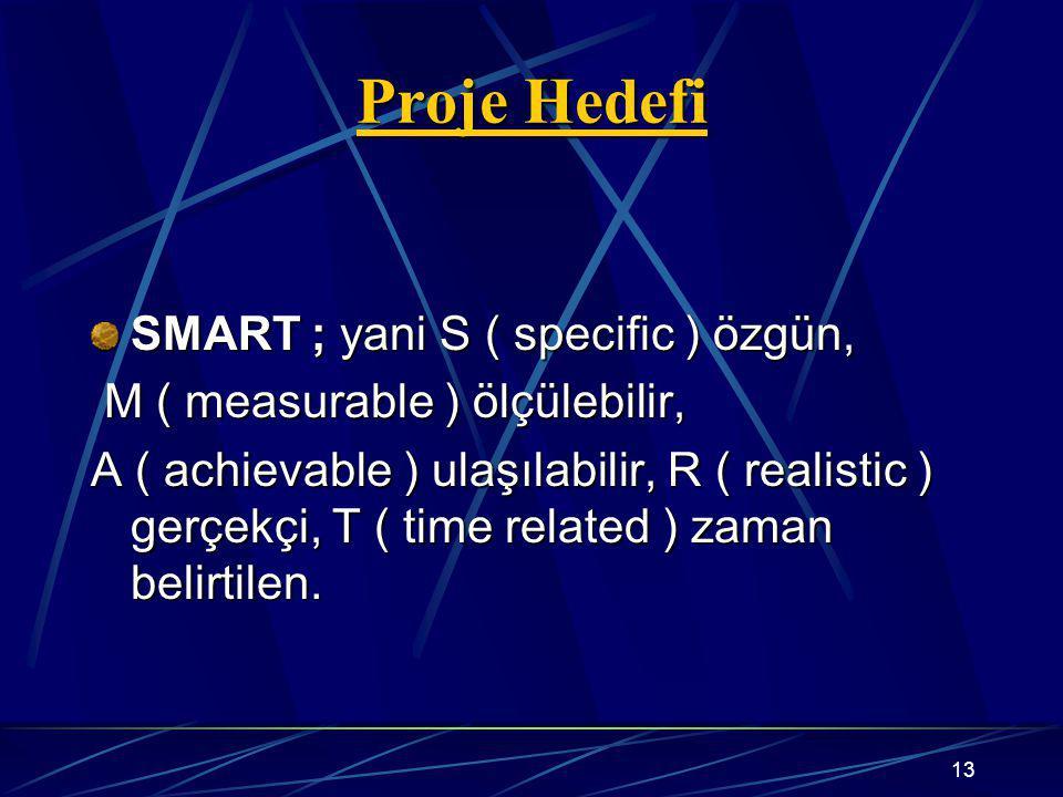 Proje Hedefi SMART ; yani S ( specific ) özgün,