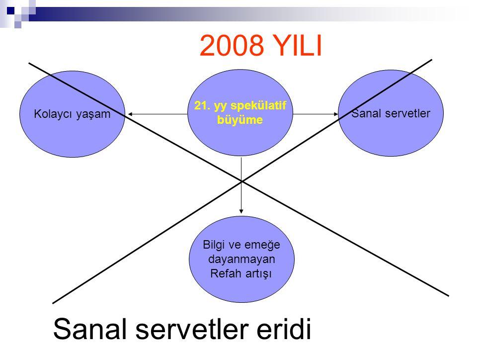 2008 YILI Sanal servetler eridi 21. yy spekülatif Kolaycı yaşam
