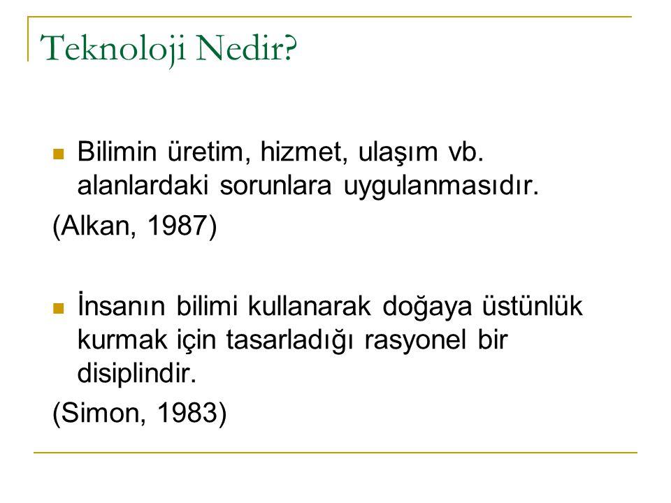 Teknoloji Nedir Bilimin üretim, hizmet, ulaşım vb. alanlardaki sorunlara uygulanmasıdır. (Alkan, 1987)