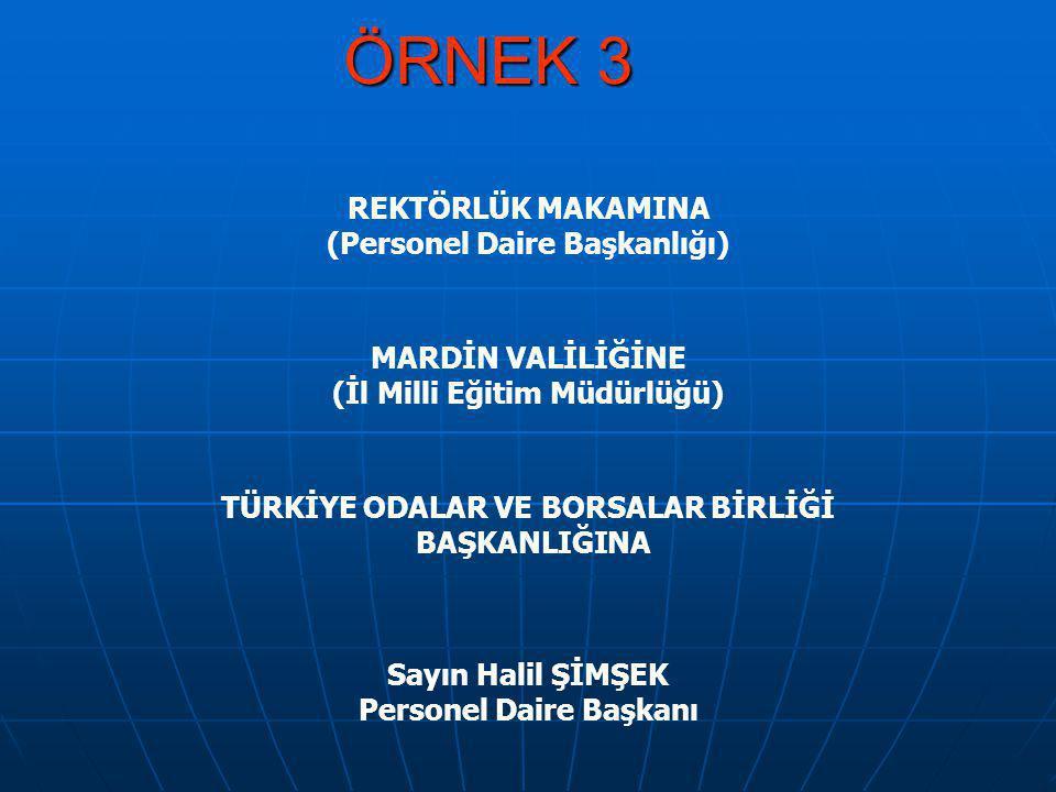 ÖRNEK 3 REKTÖRLÜK MAKAMINA (Personel Daire Başkanlığı)