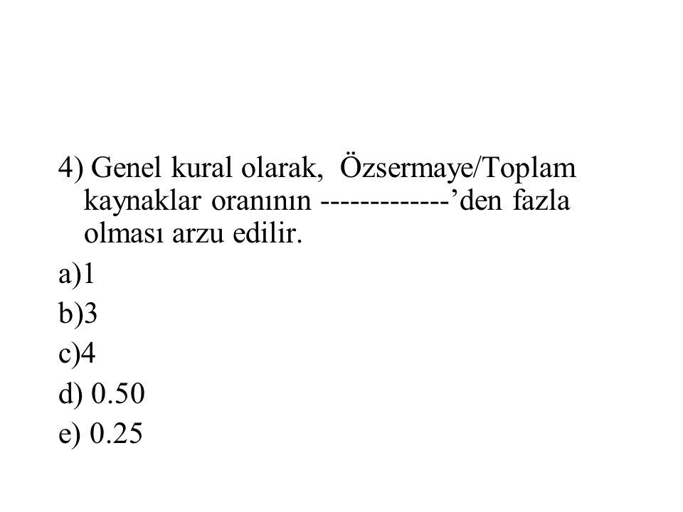 4) Genel kural olarak, Özsermaye/Toplam kaynaklar oranının -------------'den fazla olması arzu edilir.