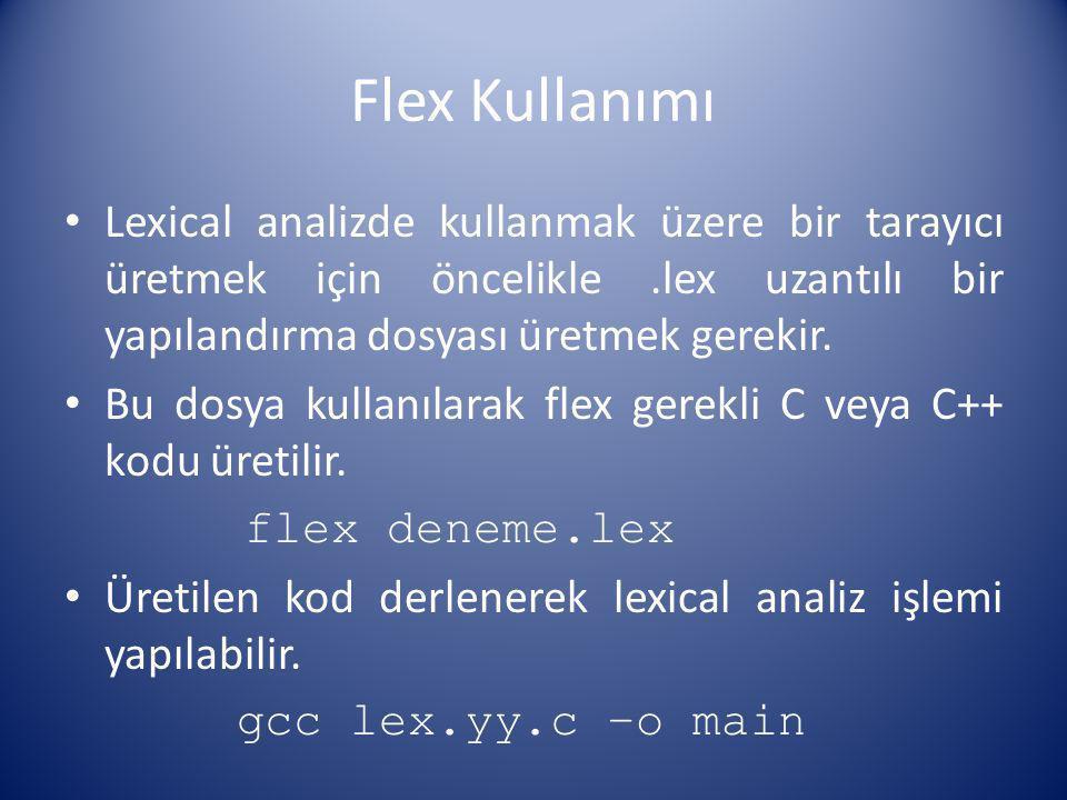Flex Kullanımı Lexical analizde kullanmak üzere bir tarayıcı üretmek için öncelikle .lex uzantılı bir yapılandırma dosyası üretmek gerekir.