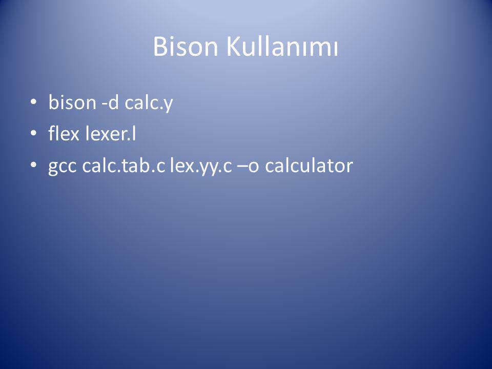 Bison Kullanımı bison -d calc.y flex lexer.l