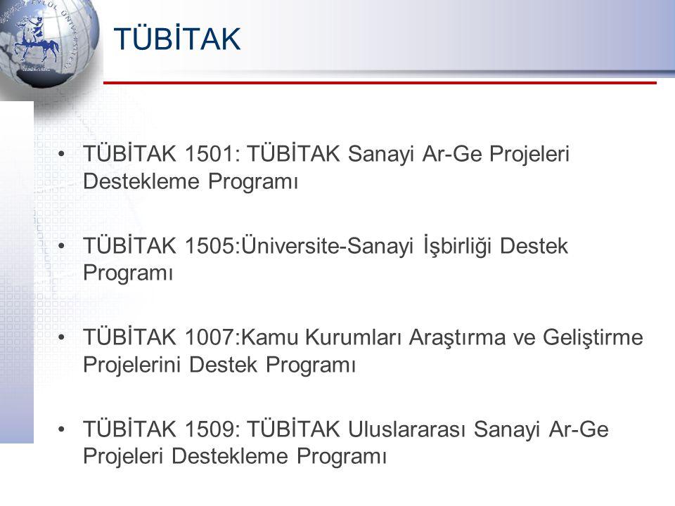 TÜBİTAK TÜBİTAK 1501: TÜBİTAK Sanayi Ar-Ge Projeleri Destekleme Programı. TÜBİTAK 1505:Üniversite-Sanayi İşbirliği Destek Programı.