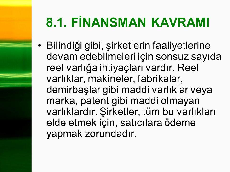 8.1. FİNANSMAN KAVRAMI