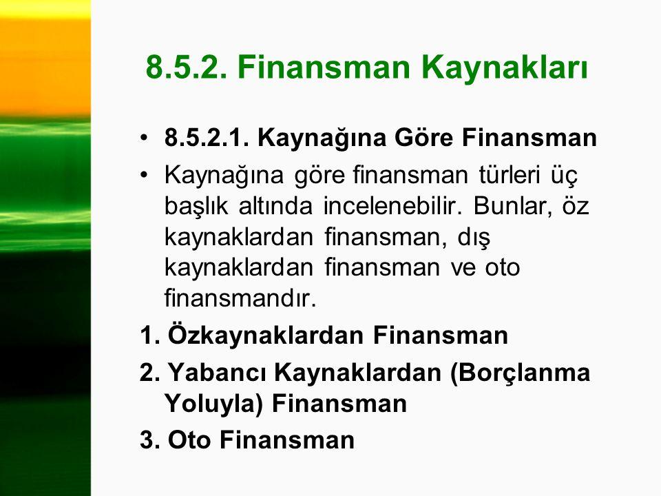8.5.2. Finansman Kaynakları 8.5.2.1. Kaynağına Göre Finansman