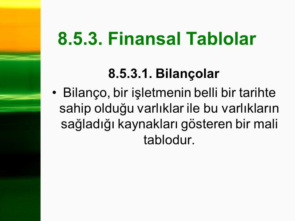 8.5.3. Finansal Tablolar 8.5.3.1. Bilançolar