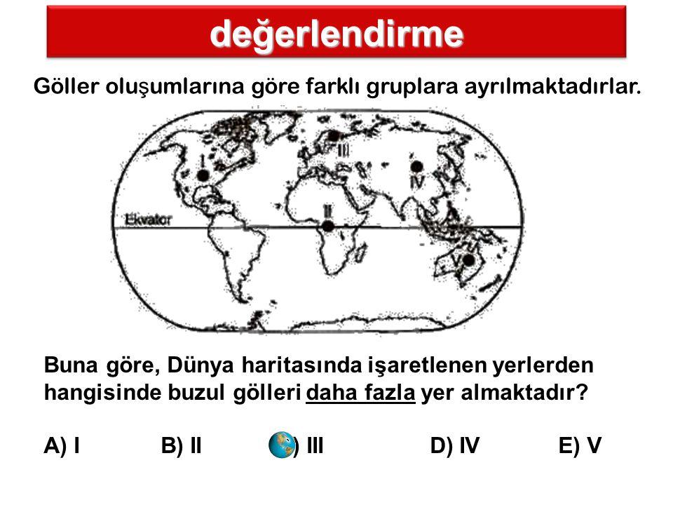 değerlendirme Göller oluşumlarına göre farklı gruplara ayrılmaktadırlar.