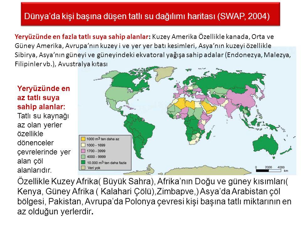 Dünya'da kişi başına düşen tatlı su dağılımı haritası (SWAP, 2004)