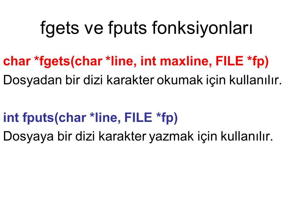 fgets ve fputs fonksiyonları