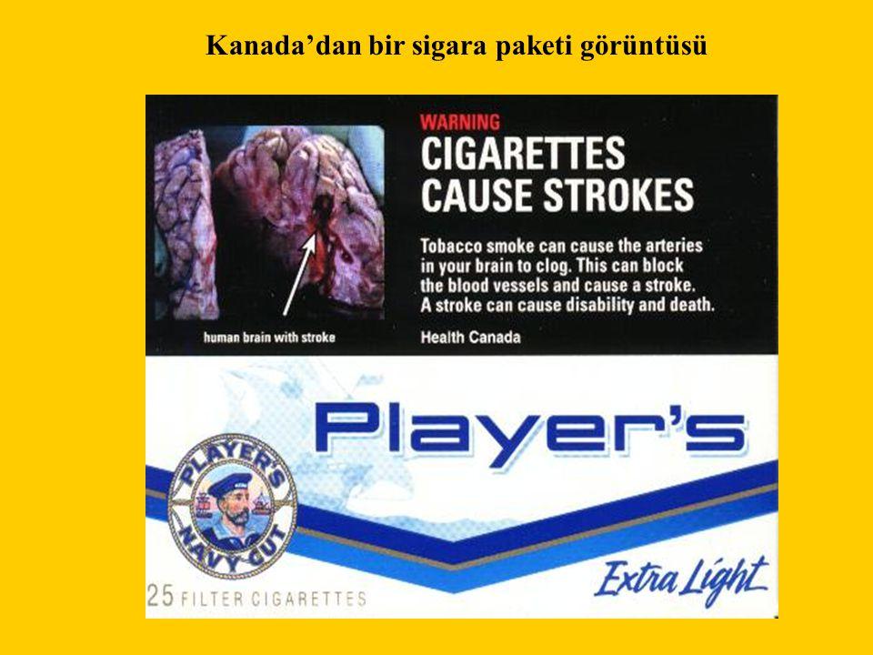Kanada'dan bir sigara paketi görüntüsü