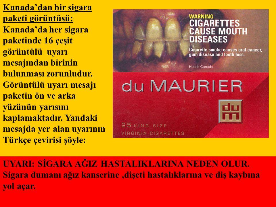 Kanada'dan bir sigara paketi görüntüsü: