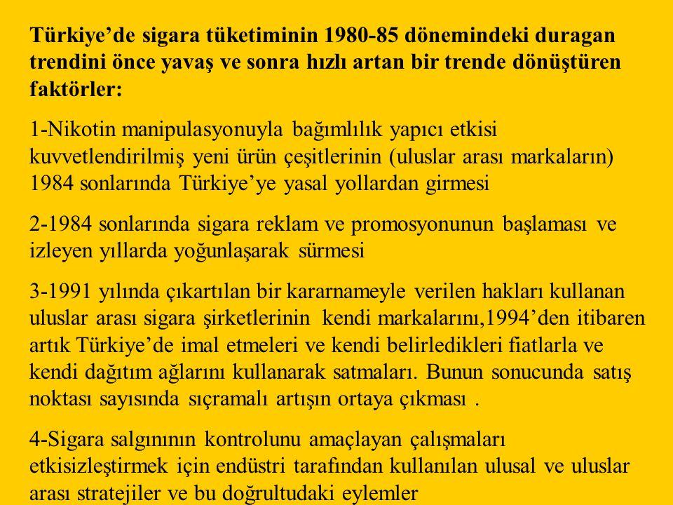 Türkiye'de sigara tüketiminin 1980-85 dönemindeki duragan trendini önce yavaş ve sonra hızlı artan bir trende dönüştüren faktörler: