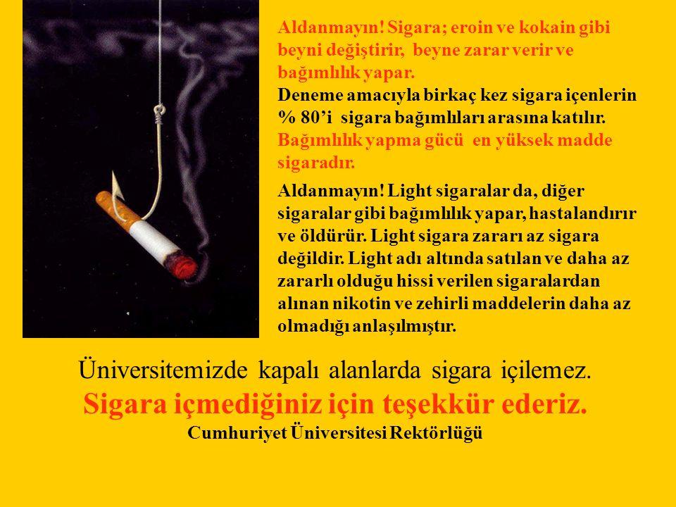 Sigara içmediğiniz için teşekkür ederiz.