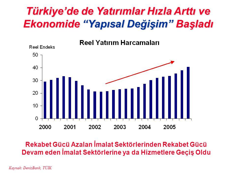 Türkiye'de de Yatırımlar Hızla Arttı ve Ekonomide Yapısal Değişim Başladı